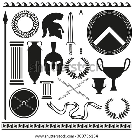 Old greek roman spartan set icons  - stock vector