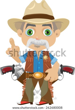old green-eyed Sheriff in the hat with his finger raised up his right hand - stock vector