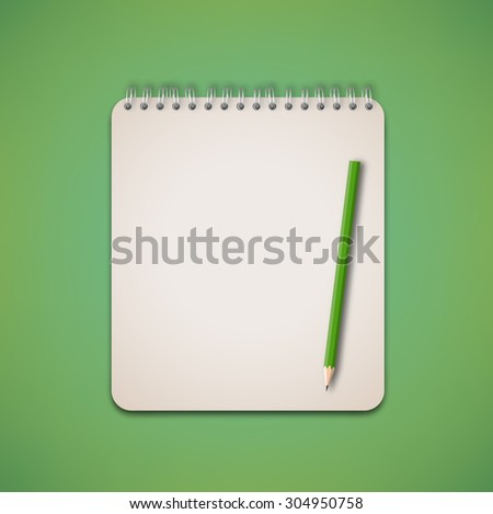 Old Green Pencil and Notebook on Green Background Vector - stock vector