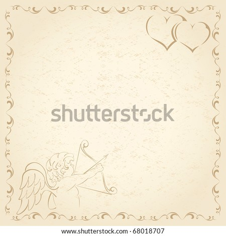Old grunge paper with Cupid and Hearts, illustration - stock vector
