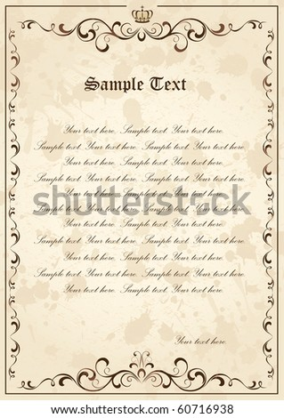 Old grunge paper with floral elements, illustration - stock vector