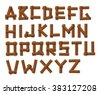 Old Grunge Wooden Alphabet set - stock vector