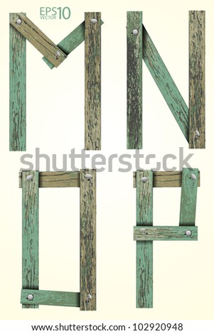 Old Grunge Wooden Alphabet, vector set ( M N O P ) - stock vector