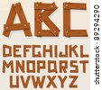 Old Grunge Wooden Alphabet, vector set with all Letters, ready for your Text Message, Title or Logos Design - stock photo