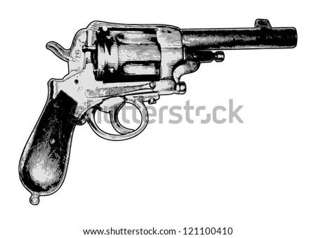 old gun vector engraving - stock vector