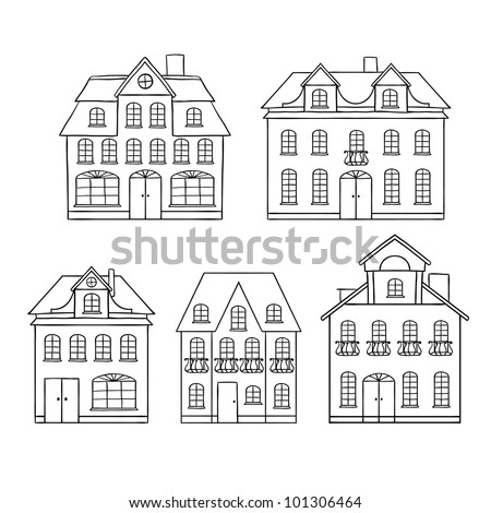 Old hand drawing houses isolated. Vector illustration. - stock vector