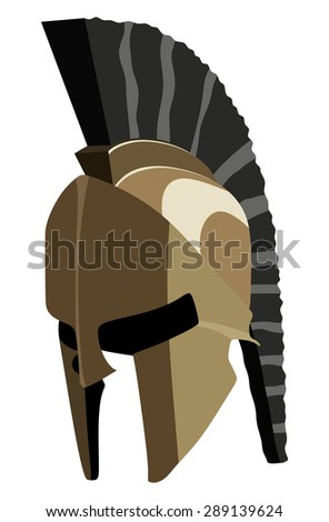 Old helmet on a white background - stock vector