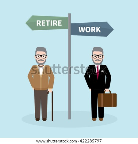 Old Hipster Businessman, Work or Retire Concept