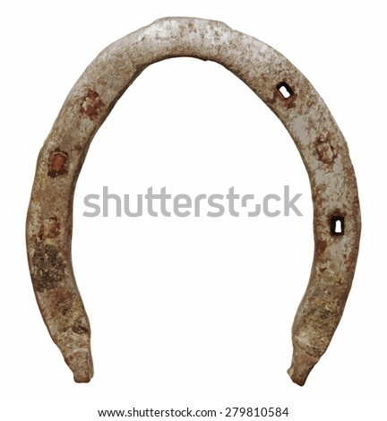 old horseshoe, vector - stock vector