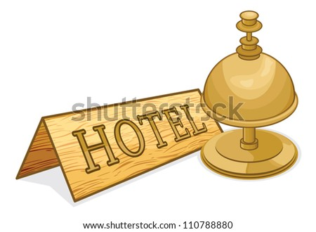 old hotel bell - stock vector