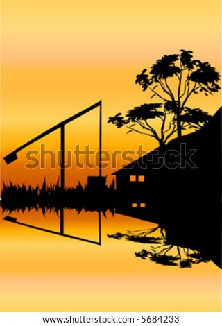 old house and sweep well on water - stock vector