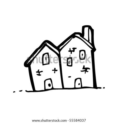 old house cartoon - stock vector