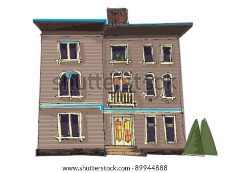 old house - cartoon - stock vector