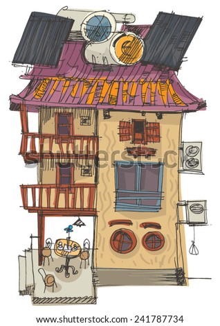 old house with solar panels with water collector on the roof - stock vector