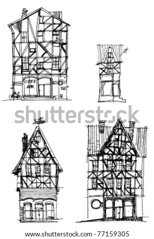old houses - stock vector