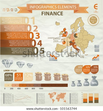 Old infographics set. Europe Map and Information Graphics with finance icons. Easy to edit - stock vector