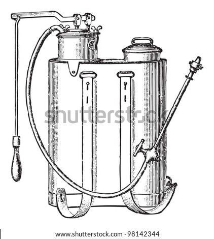 Old insecticide sprayer / vintage illustration from Meyers Konversations-Lexikon 1897 - stock vector