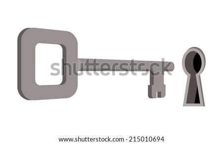 old key and keyhole  - stock vector