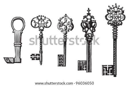 Old key collection / vintage illustration from Meyers Konversations-Lexikon 1897 - stock vector