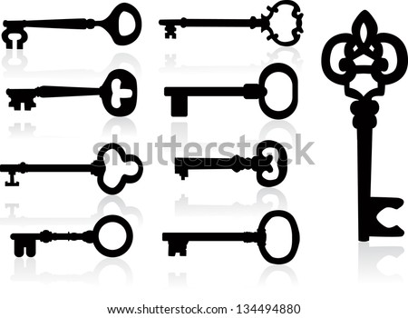 Old key silhouette set