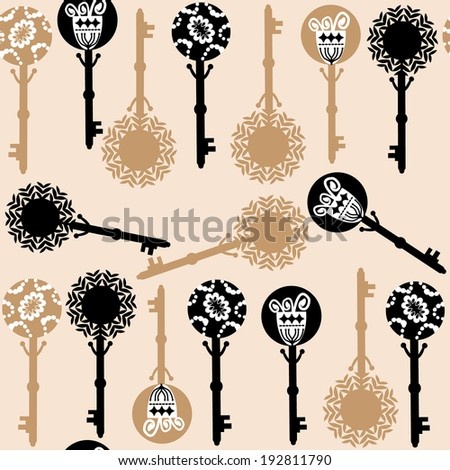 Old keys seamless pattern and seamless pattern in swatch menu, vector