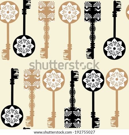 Old keys seamless pattern and seamless pattern in swatch menu, vector. Background made seamlessly