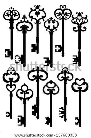 Old Keys, Silhouettes Set, Vector Version - stock vector