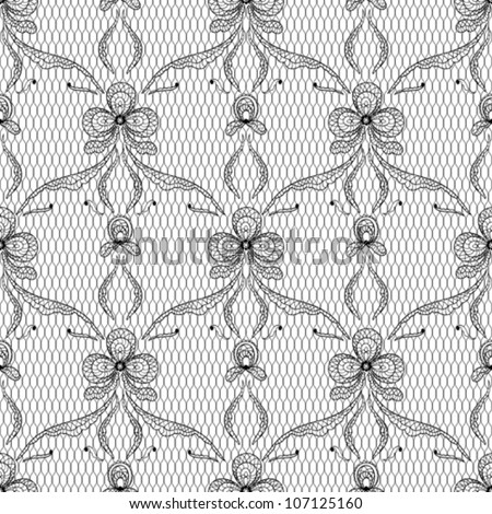 Old lace background, ornamental flowers. Vector texture. - stock vector