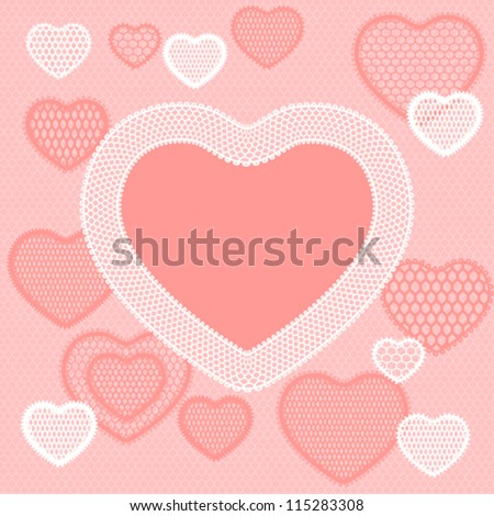 Old lace background, pink card with hearts.