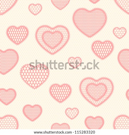 Old lace background, seamless pattern with hearts.
