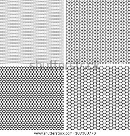 Old lace background, set of 4 seamless pattern. Vector texture. - stock vector
