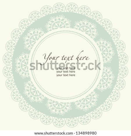 Old lace frame. Ornamental round lace pattern, circle background. - stock vector