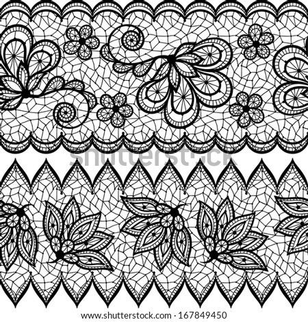 Old lace seamless pattern, ornamental border. Vector texture. - stock vector