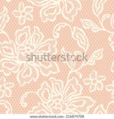 Old lace seamless pattern with ornamental flowers. - stock vector