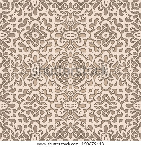 Crochet Patterns Vector : Old lace, seamless vector pattern - stock vector