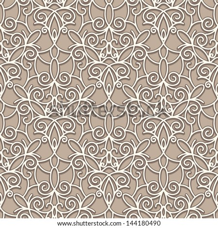 Old lace texture, seamless pattern, vintage vector background - stock vector