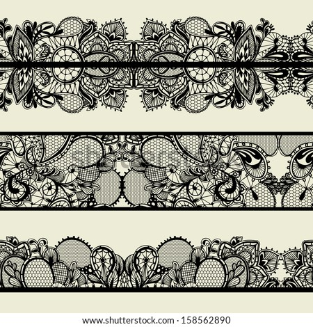 Old lacy borders, ornamental flowers. Vector realistic texture. Seamless decoration frames. Eps 8 - stock vector