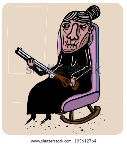 old lady with two barreled shotgun - stock vector
