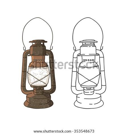 Old Lamp Vector Illustration On White Background