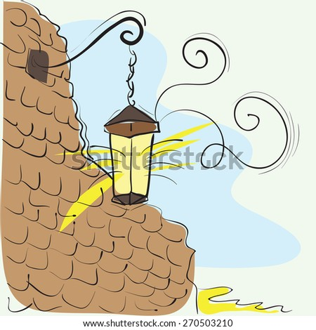 Old Lantern On The Wall - vector hand-drawn illustration - stock vector