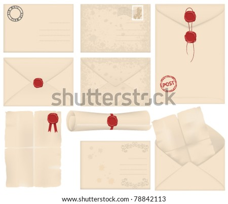 old letter and envelope set - stock vector