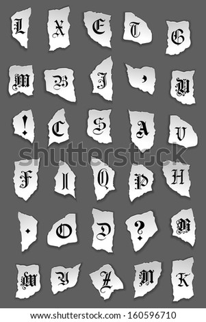 Old letters on turned paper for any design. Jpeg version also available in gallery - stock vector