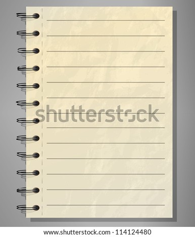 Old lined spiral notepad - stock vector
