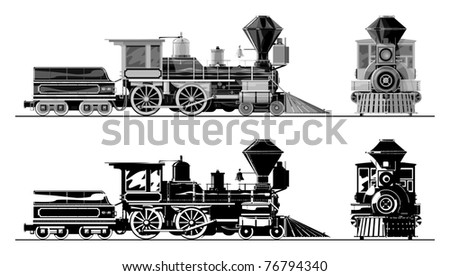 Old locomotive, gray scale, vector