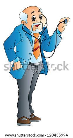 Old Male Doctor, vector illustration - stock vector