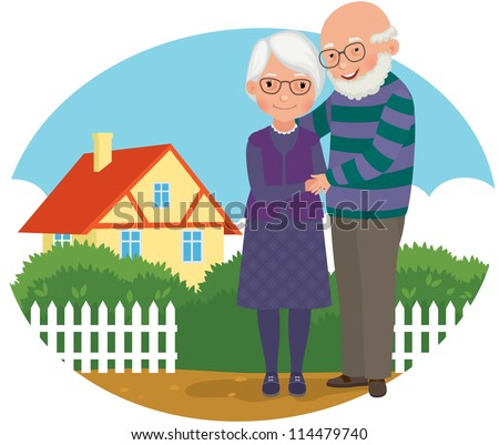old man and his wife standing near her house/ Elderly couple at their home - stock vector