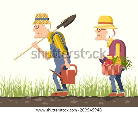 old man and old woman gardeners with harvest .Pensioner isolated illustration - stock vector