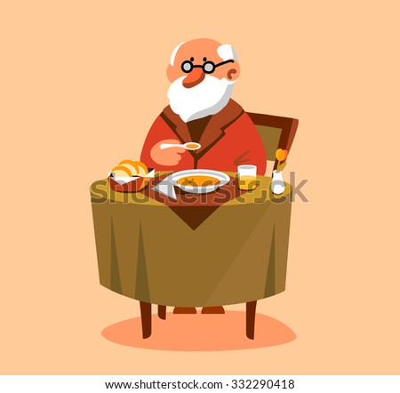 Old man eating his dinner  - stock vector
