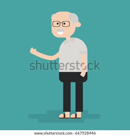 old man grandpa character flat cartoon stock vector 667928446