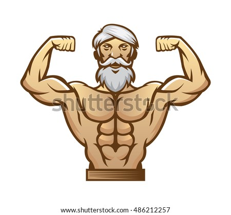 happy smiling bodybuilder man in cartoon style for sports